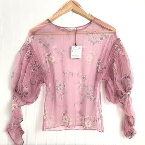 NEW Zara Tulle Floral Sheer Top Size Small